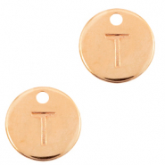 DQ European metal charms initial T Rose Gold (nickel free)