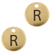 DQ European metal charms initial R Antique Bronze (nickel free)