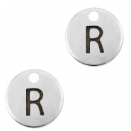 DQ European metal charms initial R Antique Silver (nickel free)