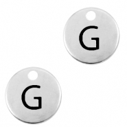 DQ European metal charms initial G Antique Silver (nickel free)