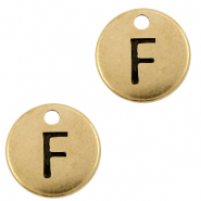 DQ European metal charms initial F Antique Bronze (nickel free)