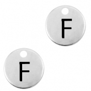 DQ European metal charms initial F Antique Silver (nickel free)