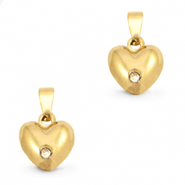 Stainless steel charms heart rounded with stone Gold
