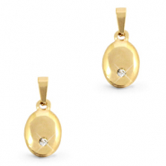 Stainless steel charms oval with stone Gold