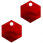 Resin pendants hexagon Cherry Red