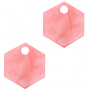 Resin pendants hexagon Living Coral Pink