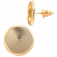 Metal earpins for 12mm cabochon Warm Gold