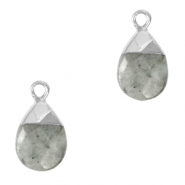 Natural stone charms Fossil Grey-silver