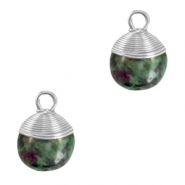 Natural stone charms wire wrapped Dark Green Marble-Silver