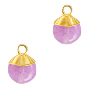 Natural stone charms wire wrapped Purple-Gold