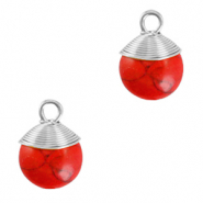 Natural stone charms wire wrapped Red Marble-Silver