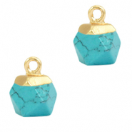 Natural stone charms hexagon Turquoise-Gold