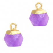 Natural stone charms hexagon Purple-Gold