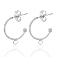 Stainless steel earrings creole with loop 15mm Silver