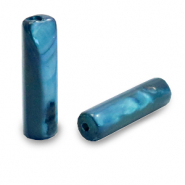 Shell beads tube Evening Blue