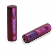 Shell beads tube Port Red Purple