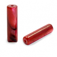 Shell beads tube Ruby Red