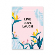 "Jewellery cards ""live love laugh"" Pink-Blue"