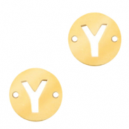 Stainless steel charms connector round 10mm initial coin Y Gold
