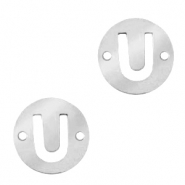 Stainless steel charms connector round 10mm initial coin U Silver