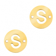 Stainless steel charms connector round 10mm initial coin S Gold