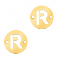 Stainless steel charms connector round 10mm initial coin R Gold