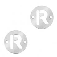 Stainless steel charms connector round 10mm initial coin R Silver