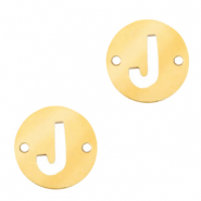 Stainless steel charms connector round 10mm initial coin J Gold
