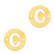 Stainless steel charms connector round 10mm initial coin C Gold