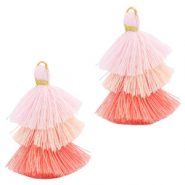 Tassels 3-layer 3.2cm Gold-Multicolour Rose Pink