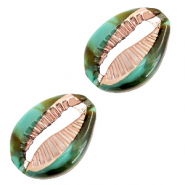 Resin pendants cowrie shell Ocean Green-Gold