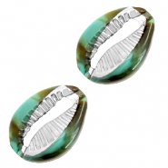 Resin pendants cowrie shell Ocean Green-Silver