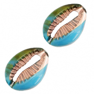 Resin pendants cowrie shell Cyan Blue-Gold
