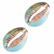 Resin pendants cowrie shell Icy Morn Blue-Gold