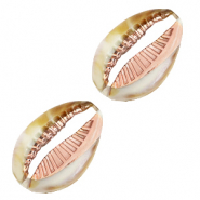 Resin pendants cowrie shell Beige White-Gold