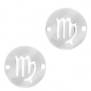 Stainless steel charms/connector zodiac sign Virgo Silver