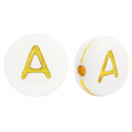 Acrylic letter beads A White-Gold