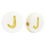 Acrylic letter beads J White-Gold