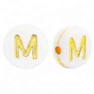 Acrylic letter beads M White-Gold