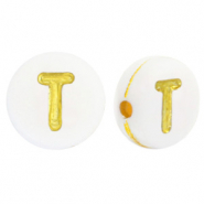 Acrylic letter beads T White-Gold