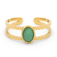 Stainless steel rings with Green Aventurine Gold-Green