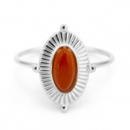 Stainless steel rings with Red Jasper Silver-Red