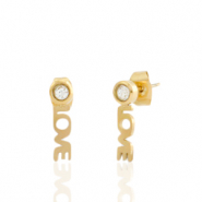 Stainless steel earrings/earpin LOVE Gold