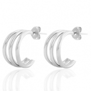 Stainless steel earrings/earpin creole Silver