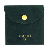 "Jewellery Bag ""with love"" Dark Green-Gold"
