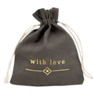 "Jewellery Bag ""with love"" Anthracite-Gold"