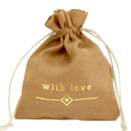 "Jewellery Bag ""with love"" Light Brown-Gold"