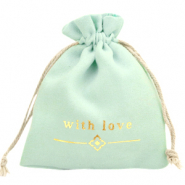 "Jewellery Bag ""with love"" Mint Green-Gold"