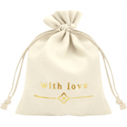 "Jewellery Bag ""with love"" Off White-Gold"