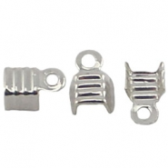 DQ fold over cord ends 4mm Silver plated